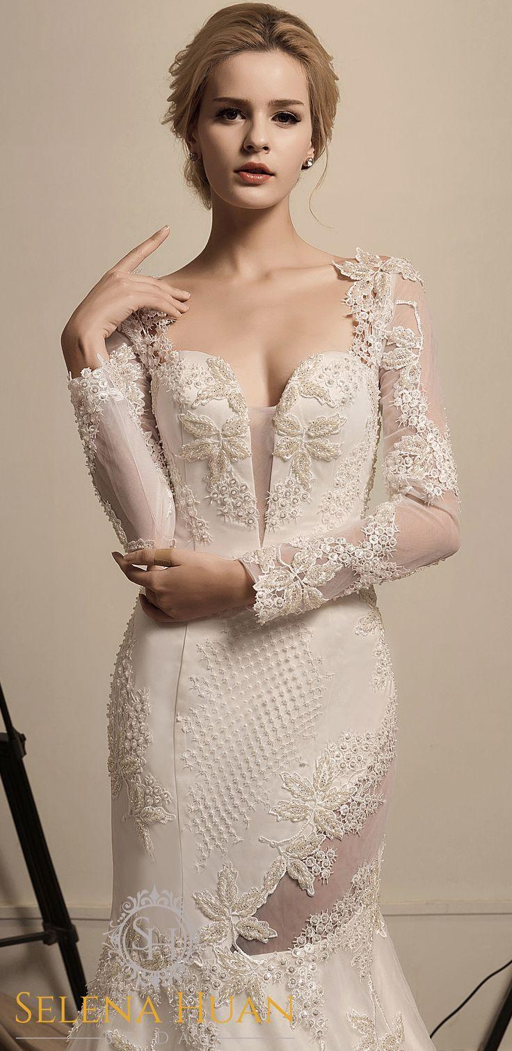 Wedding - Girl Under The Grape Vine - Selena Huan Beaded Lace Long Sleeve Illusion V-Neck Sheath Gown