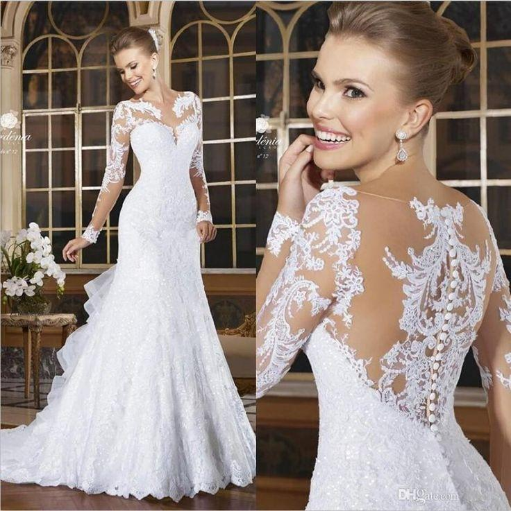 Wedding - 2015 Romantic Sexy Mermaid Wedding Dresses Lace Appliqued Bride Dresses Button Back Long Sleeve Vestido De Noiva Court Train Plus Size Gown Online With $137.96/Piece On Hjklp88's Store  #2355899