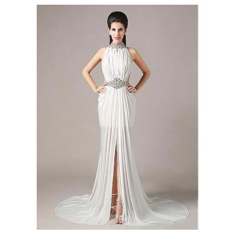 Wedding - Chic Chiffon High Collar Neckline Sheath Prom Dress - overpinks.com