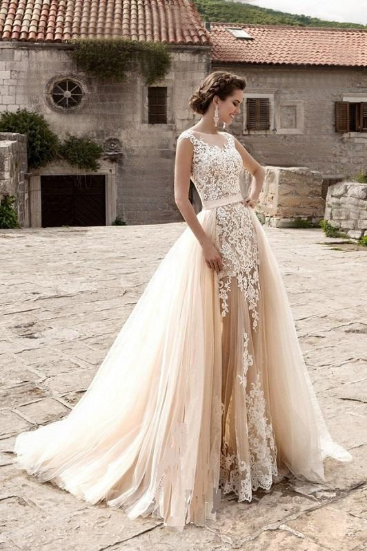 Wedding - Wedding Dress Light Peach Echo And White Colors With Detachable Train, Tulle Bridal Removable Skirt With Train