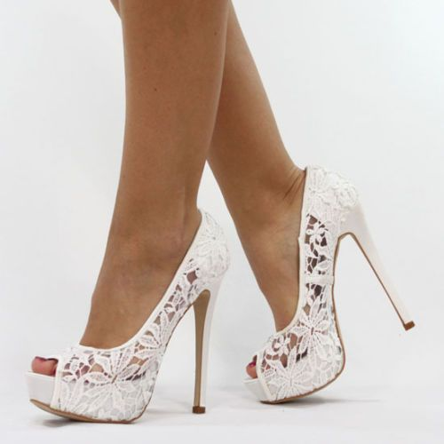 Wedding - JUMEX HIGH HEELS PUMPS TRANSPARENT SPITZE WEISS B8584 SCHUHE