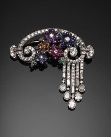 Wedding - Bonhams : An Elegant Gem-set Flower And Diamond Brooch,