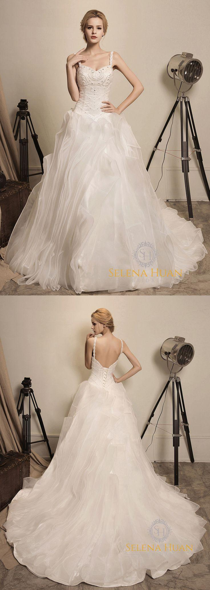 Wedding - Arrival Of The Queen - Selena Huan Beaded Lace Sweetheart Ruffled Organza Ball Gown
