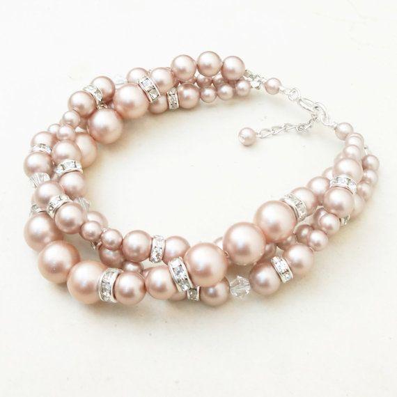 Wedding - Modern Vintage CHAMPAGNE Bridal Bracelet, Twisted Pearl Wedding Bracelet, Champagne Pearl Bridal Jewelry, Classic Pearl Bracelet, GRACE
