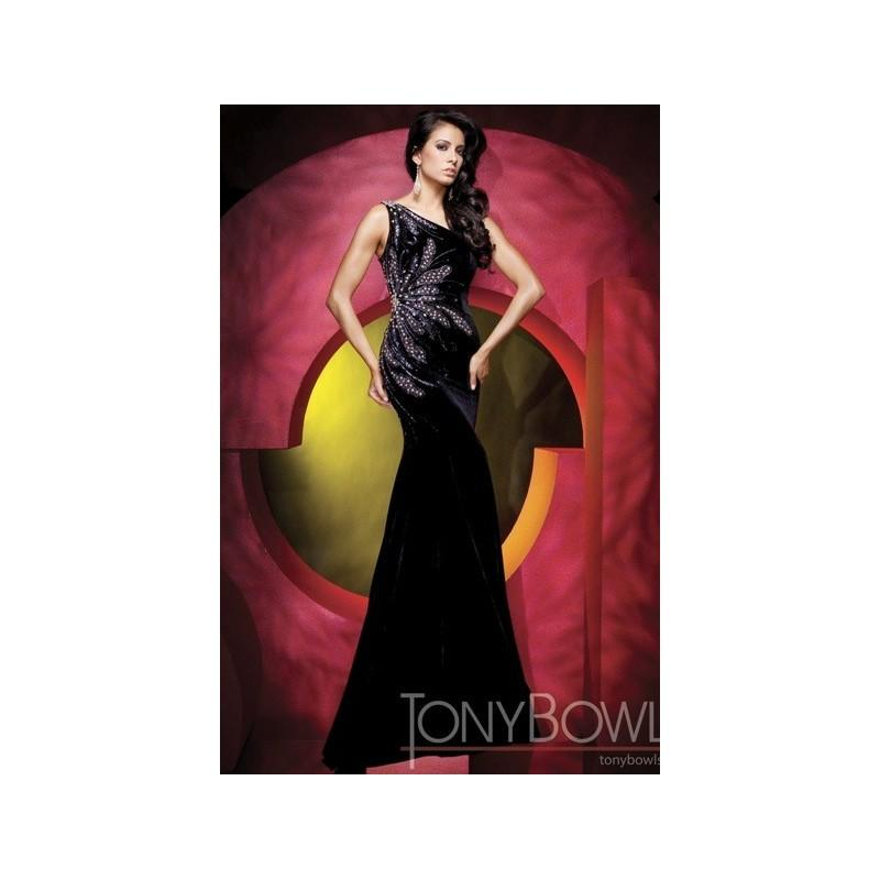 Hochzeit - Tony Bowls Collection Beaded Black Velvet Pageant Dress 111C12 - Brand Prom Dresses
