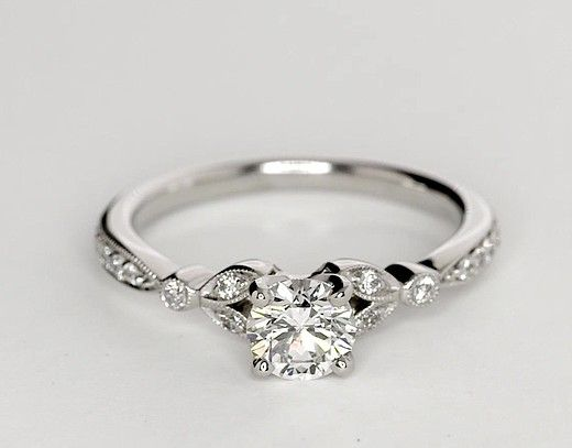 075 carat diamond petite vintage pav leaf diamond engagement ring - Wedding Ring Diamond