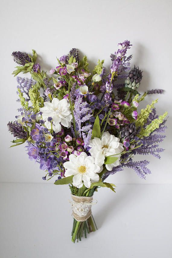 Wildflower Bouquet Lavender, Purple Bouquet, Rustic Bouquet, Wedding ...