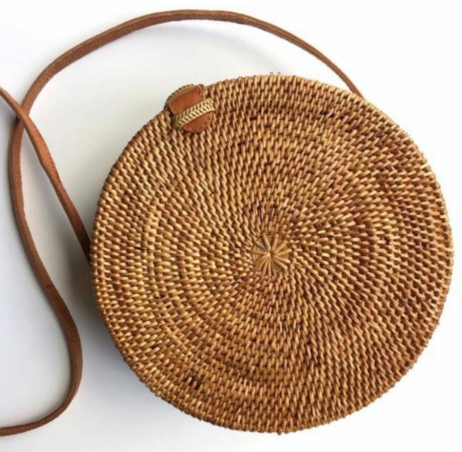 Nozze - Round rattan basket bag, Bohemian round shoulder bag,Round shoulder bag, Woven Ata bag