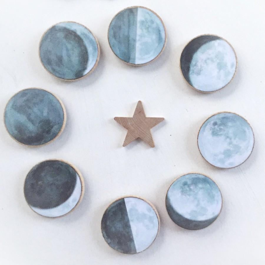 زفاف - moon magnets, moon phase wood magnets, la luna, celestial watercolor, refrigerator magnets, housewarming gift