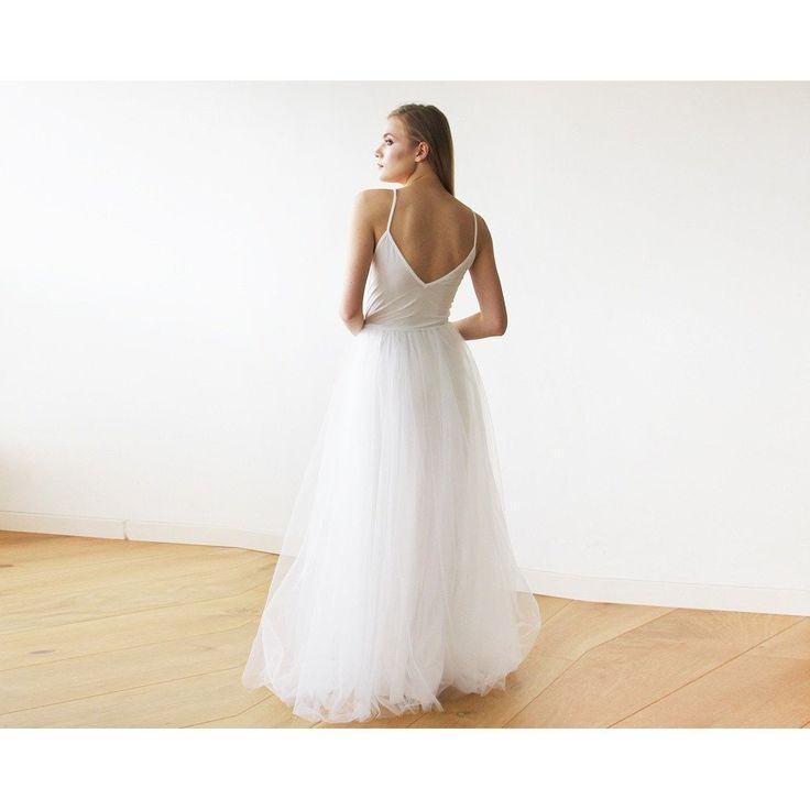 Mariage - Wedding Ivory Wrap Maxi Tulle Dress 1053