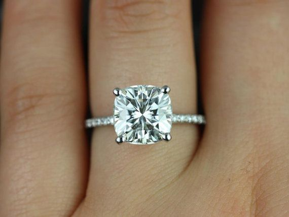 Wedding - Heidi 9mm 14kt White Gold Cushion F1- Moissanite And Diamond Basket Engagement Ring (Other Metals And Stone Options Available)