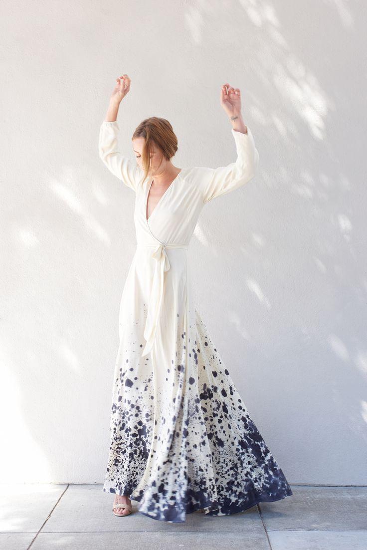 زفاف - Linden Silk Wrap Dress Hand Painted Tidal Print (made-to-order)
