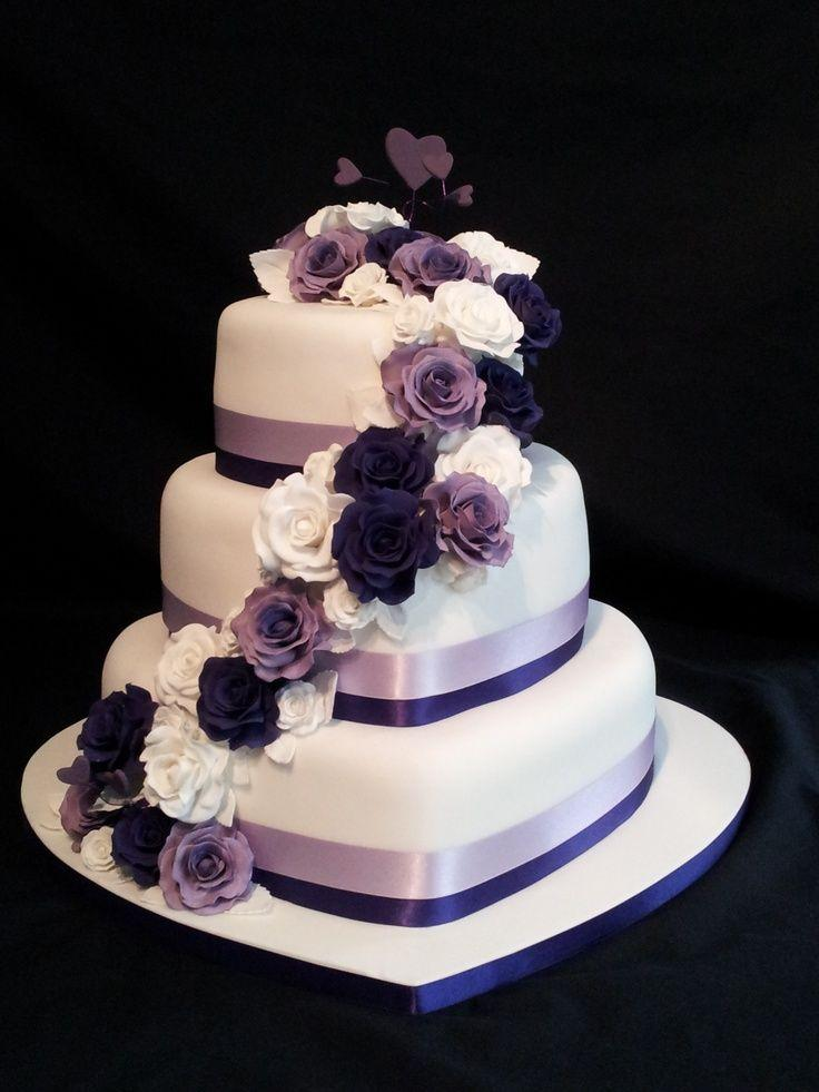 Hochzeit - 3 Tier Heart Shaped Wedding Cake. Roses Cascading Down With A Purple Theme.... - Weddings And Events