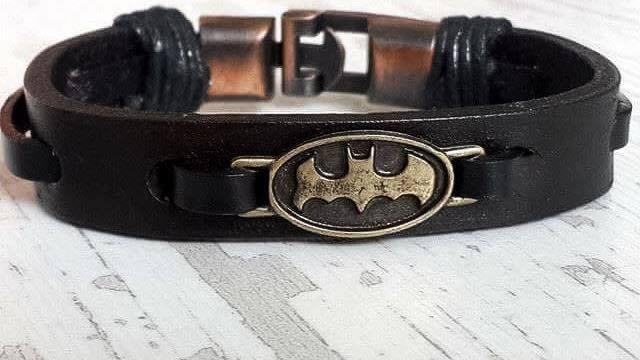 Batman Leather Bracelet Handmade Mens Birthday Gift Boyfriend Husband Idea Fathers Day