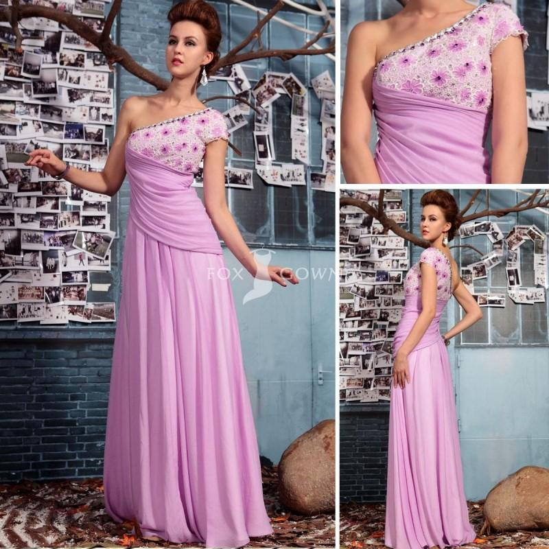 Wedding - Ziemlich Voilet One-Schulter formelle Kleidung mit Juwel-Ausschnitt und Blumen Beading Mieder - Festliche Kleider