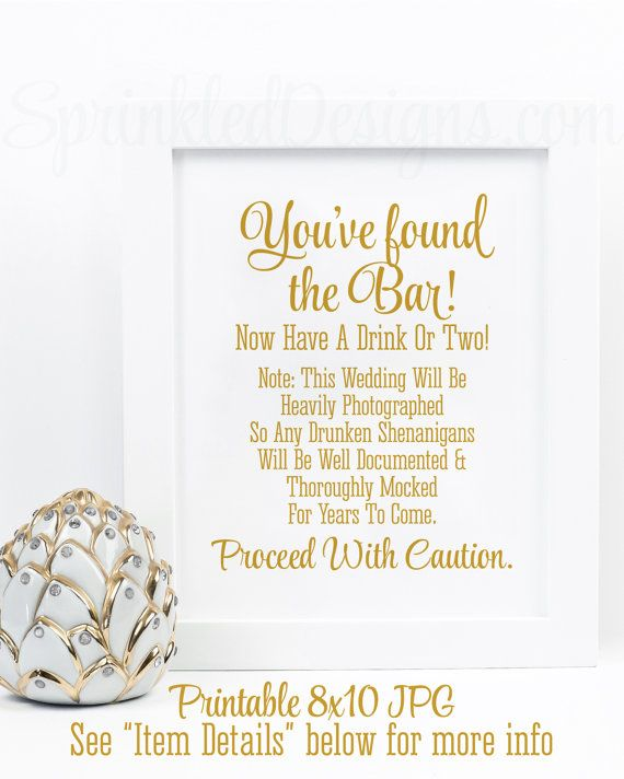 drunken shenanigans open bar sign youve found the bar cash bar sign alcohol sign printable gold wedding reception decor wedding signs