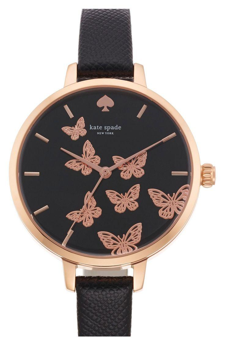 Mariage - Kate Spade New York 'metro' Butterfly Dial Leather Strap Watch, 34mm
