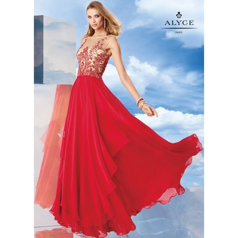 Hochzeit - Alyce 6457 Beaded Illusion Long Layered Chiffon Dress - 2017 Spring Trends Dresses