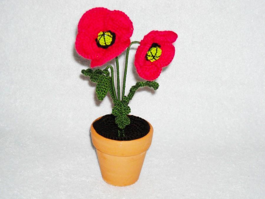 Crochet red poppy in pot flowers home decor artificial flowers crochet red poppy in pot flowers home decor artificial flowers crochet plant amigurumi flower crocheted fake poppy fiber flower mightylinksfo