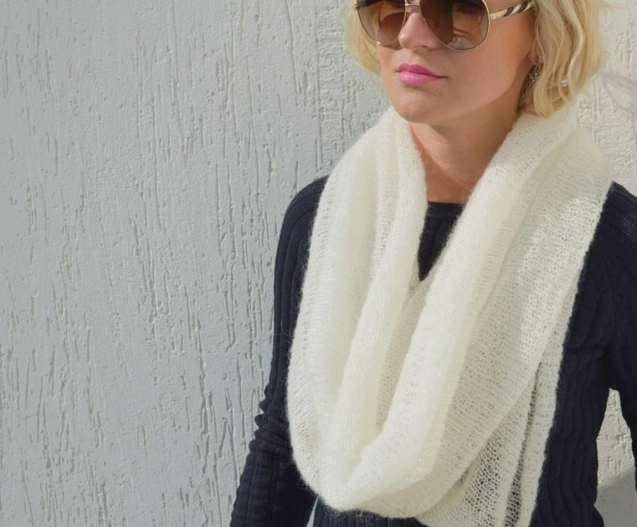 Wedding - White mohair scarf infinity scarf ivory wool shawl mohair xmas scarf lace knitted shawls circle scarves white knit christmas scarf infinity
