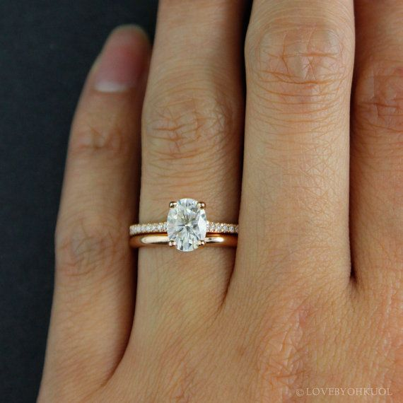 Forever One D E F Colorless Oval Solitaire Engagement Ring Wedding Set Comfort Fit Band