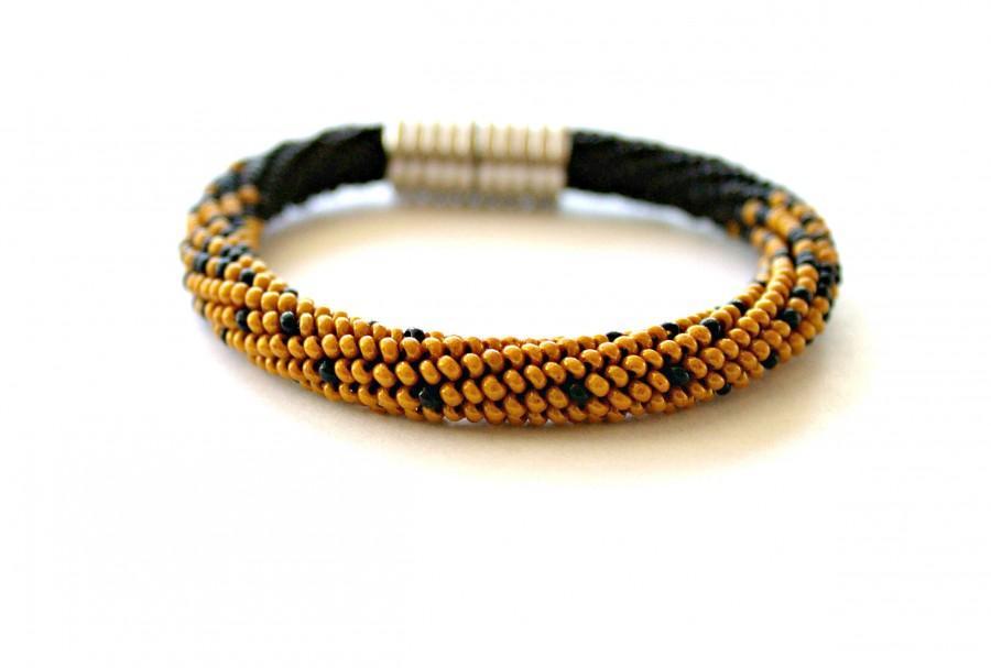 Wedding - Bead Crochet Bracelet, Beadwork Jewelry, bracelet with magnetic clasp,clasp magnetic,black and gold beaded bracelet,gold,black,bead crochet