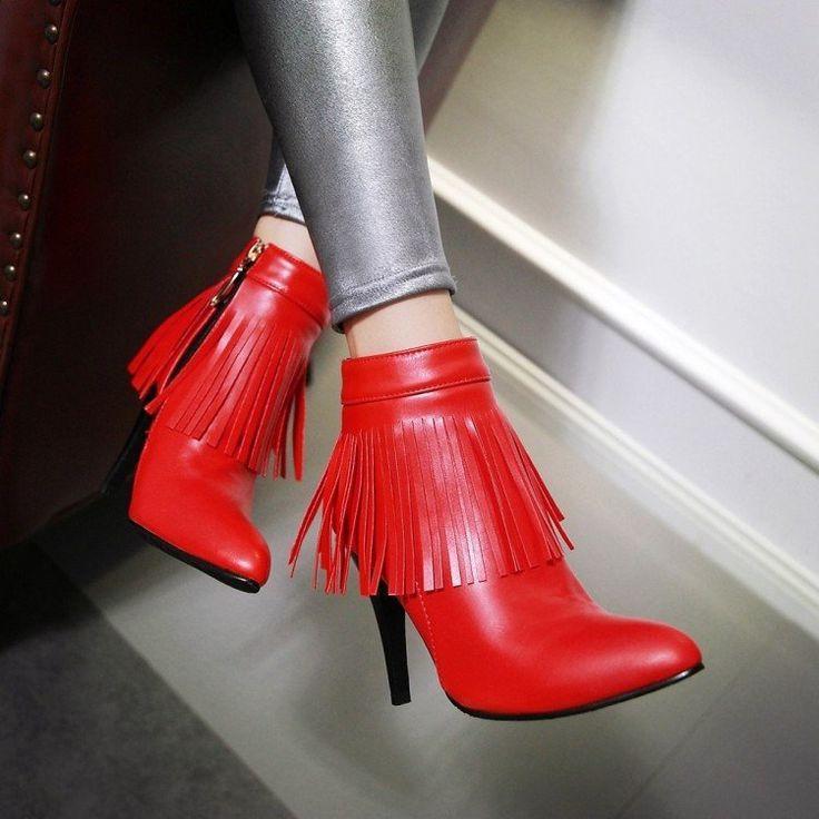 Свадьба - Pointed Toe Tassel Ankle Boots Stiletto Heel Wedding Shoes 3055
