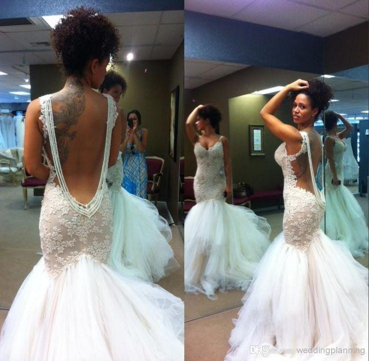 Wedding - Mermaid Wedding Dresses 2015 Formal Sweetheart Straps Full Lace Appliqued Beading Low Back Organza Sexy Bidal Cheap Wedding Party Gown