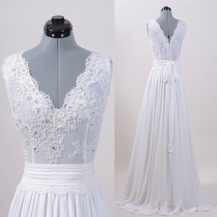 زفاف - Ivory Lace Top V Neck Long Cheap Brides Wedding Dresses, PM0612