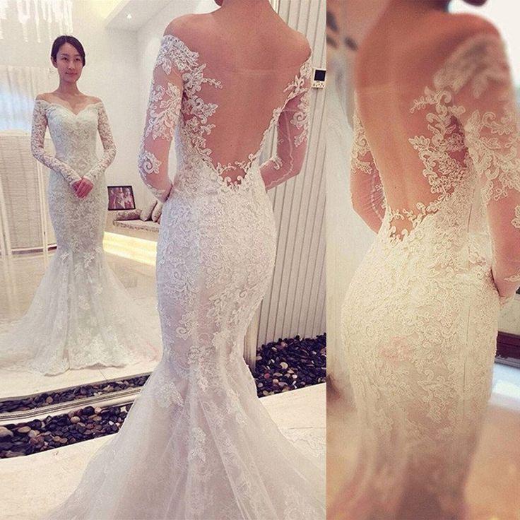 Wedding - Off The Shoulder Long Sleeves Lace Mermaid Wedding Dresses, PM0611