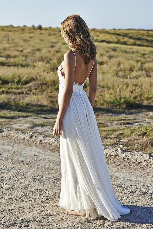 Mariage - Open Back Ivory Lace Spaghetti Straps Long Beach Bridal Wedding Dress LD146