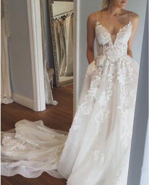 Sexy Deep V Neck Wedding Dress Lace Wedding Dress Open Back Bridal