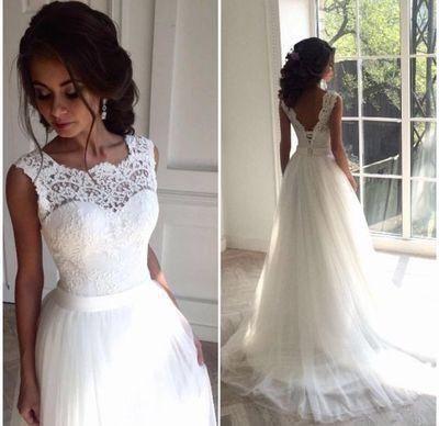 Mariage - Round Neck V-neck Illusion Lace Tulle Lace Up Wedding Dresses, WD0214