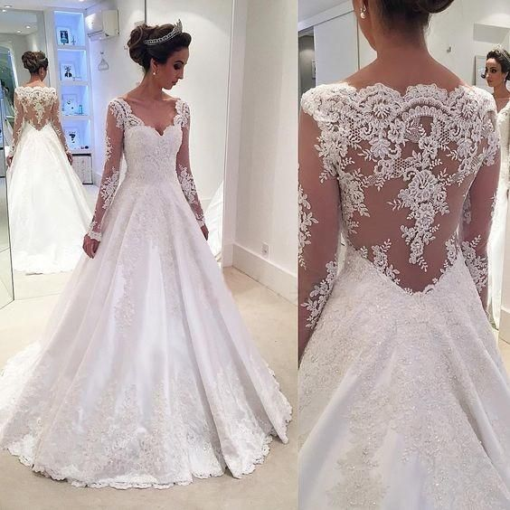 Mariage - Charming V Neck Appliques A Line Wedding Dress With Long Sleeves WD023