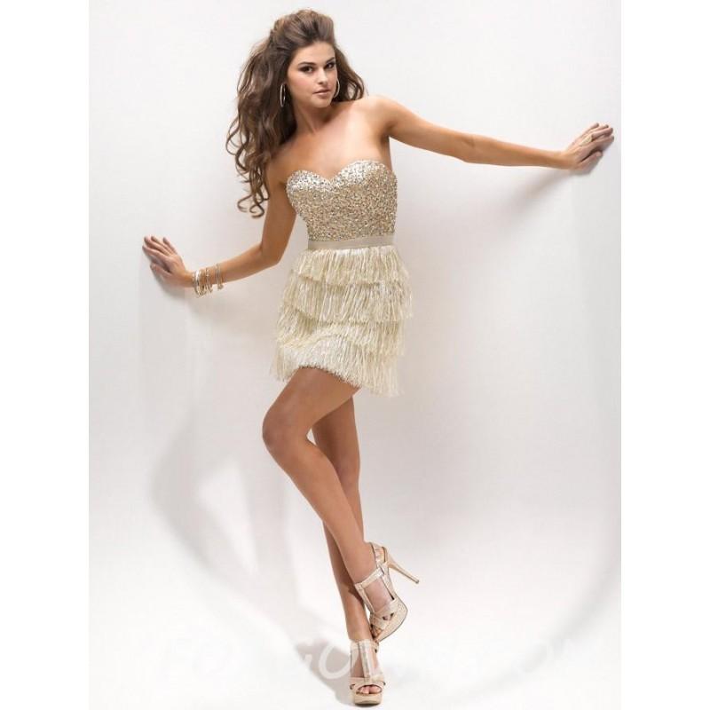 Mariage - Vintage Gold Satin kurze Prom Dress mit gestuften Minirock - Festliche Kleider