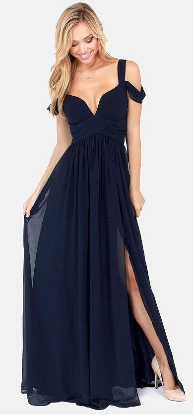 Mariage - Bariano Ocean Of Elegance Navy Blue Maxi Dress