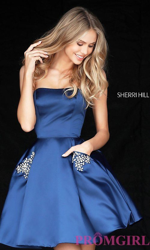 زفاف - Short Strapless Sherri Hill Homecoming Dress With Pockets