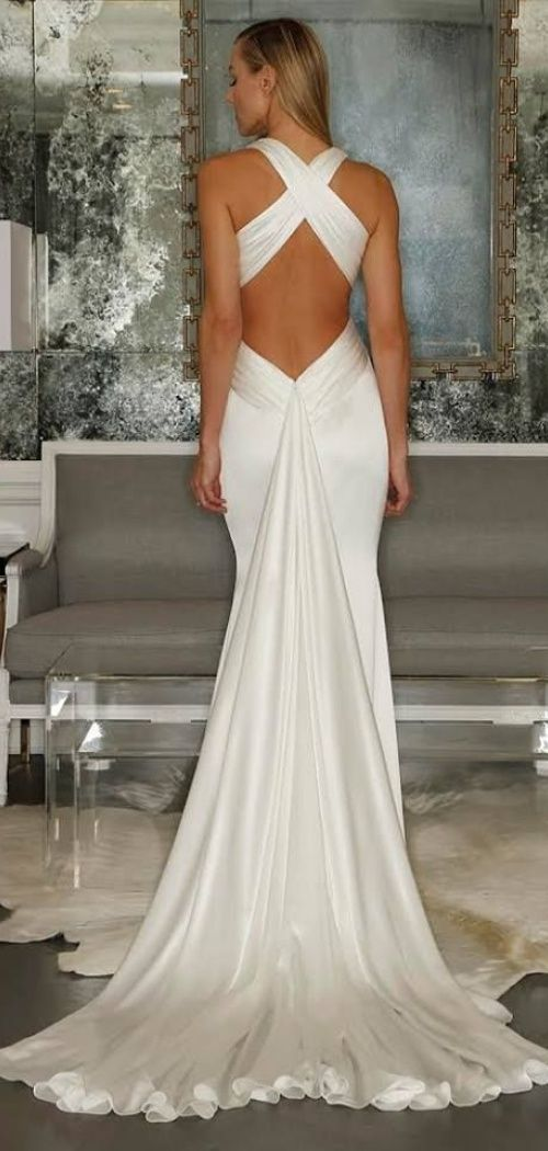 Simple Plunging Mermaid Criss-cross Back Wedding Dress #2737578 ...