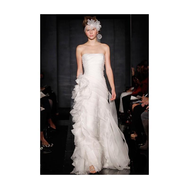 05d7780a1822 Reem Acra - Fall 2012 - Simple Beauty Strapless Silk Organza A-Line Wedding  Dress with Ruffle Detail - Stunning Cheap Wedding Dresses