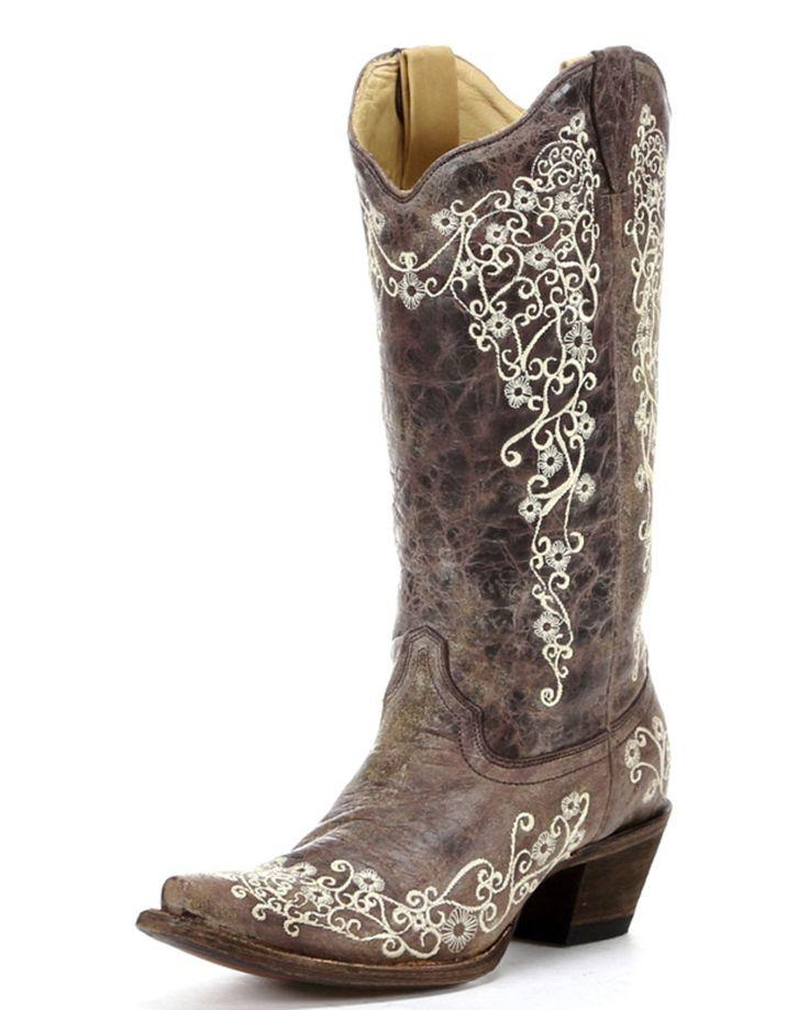 Düğün - Women's Brown Crater Bone Embroidery Boot - A1094