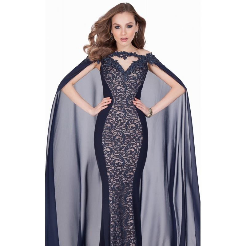 Wedding - Navy/Nude Beaded Lace Chiffon Gown by Terani Couture Evening - Color Your Classy Wardrobe