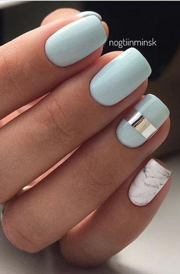 زفاف - Turquoise Marble Nails