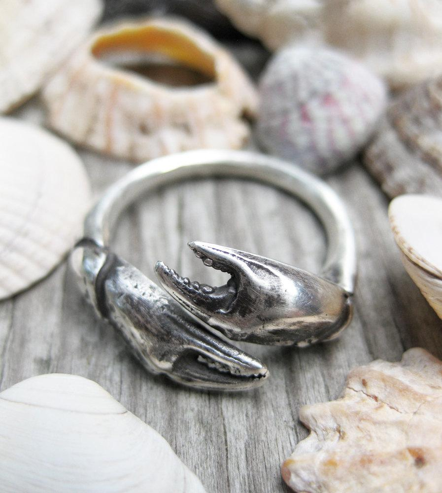 Mariage - Seashell crab CLAW sterling silver sea shell ADJUSTABLE bypass ring sz 6 to 9 cancer zodiac
