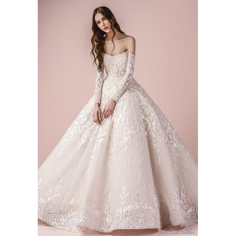 Boda - Saiid Kobeisy 2018 3255 Ball Gown Embroidery Long Sleeves Tulle Winter Floor-Length Elegant Off-the-Shoulder Dress For Bride - Charming Wedding Party Dresses