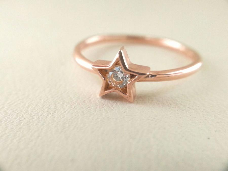 Boda - Star Cut Silver Birthstone Ring - Personalized Ring - Promise Ring - Birthday Gift Ring - Tiny Single stone Ring - Customise Ring