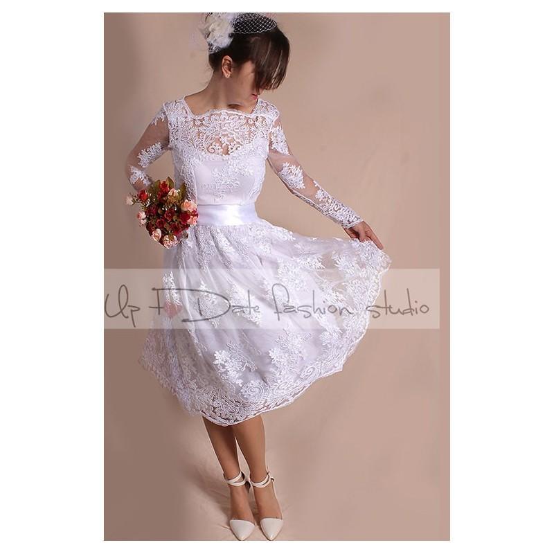 زفاف - Plus Size short wedding party/reception dress / lace / knee length/ Bridal Gown - Hand-made Beautiful Dresses