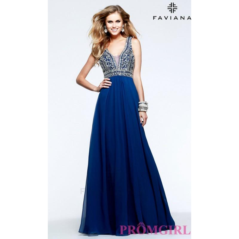 Wedding - Beaded V-Neck Formal Gown by Faviana S7500 - Discount Evening Dresses