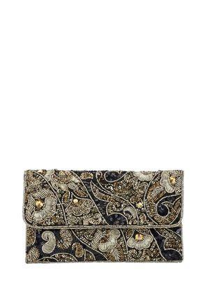 Düğün - F&F Embellished Beaded Clutch Bag