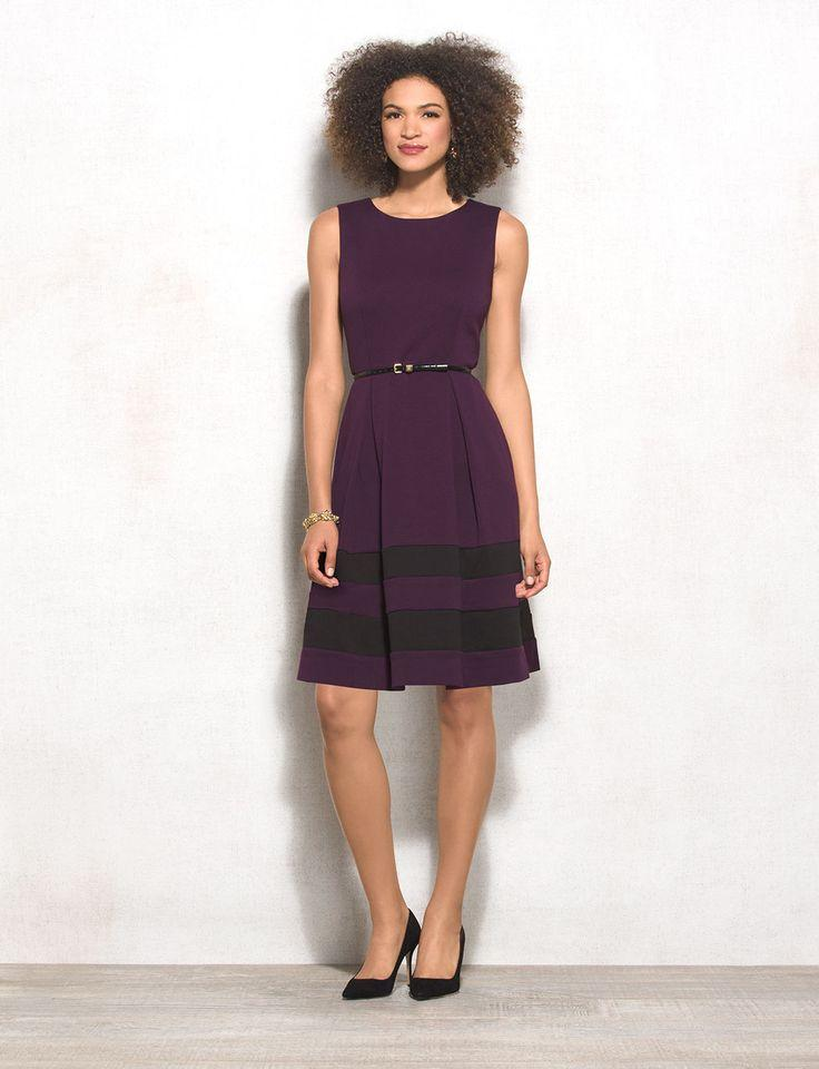 Mariage - Belted Colorblock Fit-and-Flare Dress