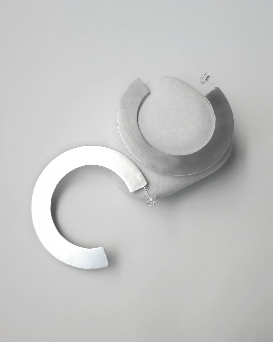 Large Hoop Earrings, Minimalist Hoop Earrings, Silver ...
